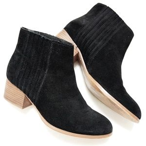 Distressed Suede Stacked Heel Chelsea Boots
